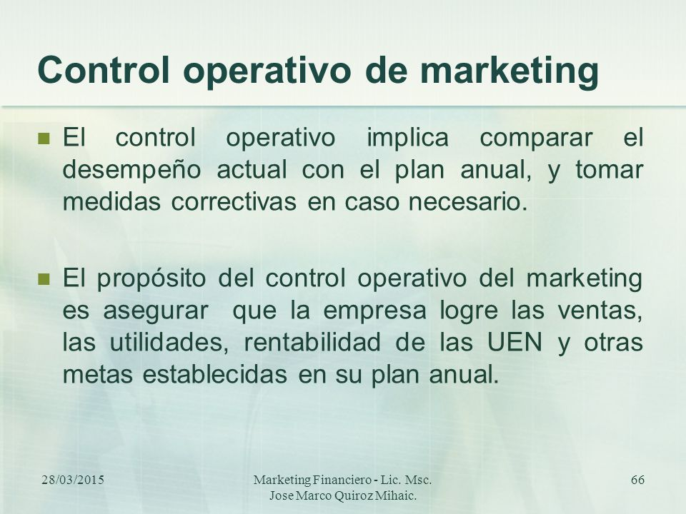 Control operativo de marketing