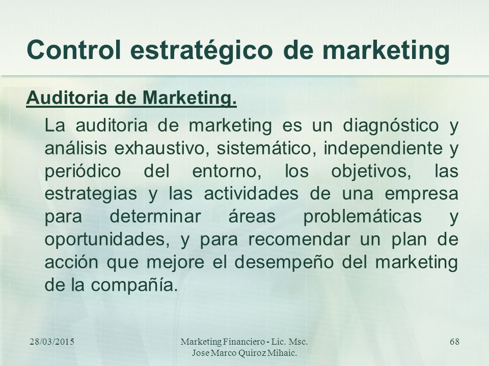 Control estratégico de marketing