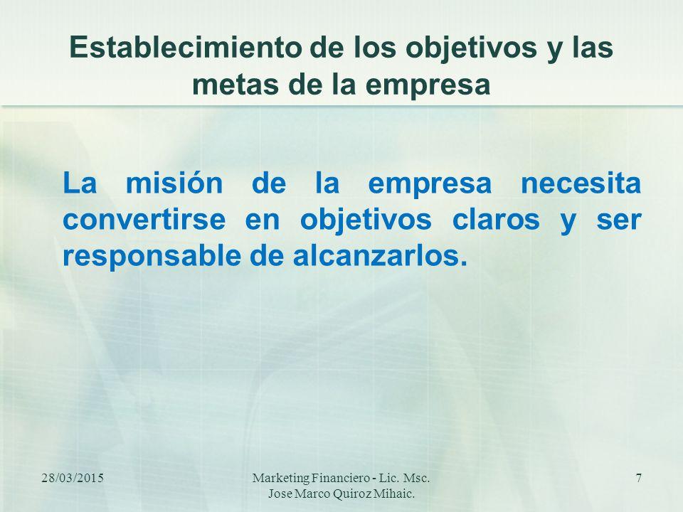 Establecimiento de los objetivos y las metas de la empresa