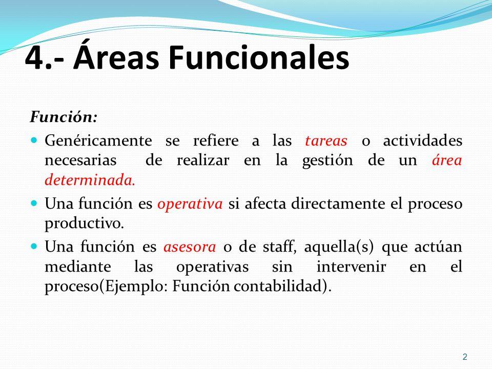 4.- Áreas Funcionales Función: