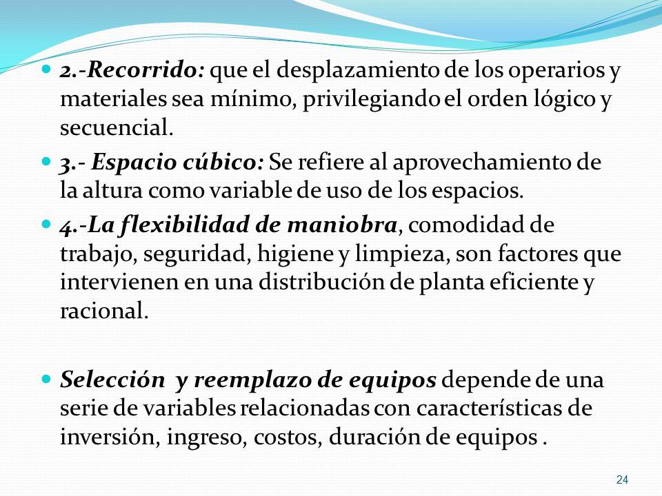 2.-Recorrido: que el desplazamiento de los operarios y materiales sea mínimo, privilegiando el orden lógico y secuencial.