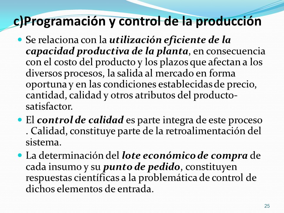 c)Programación y control de la producción