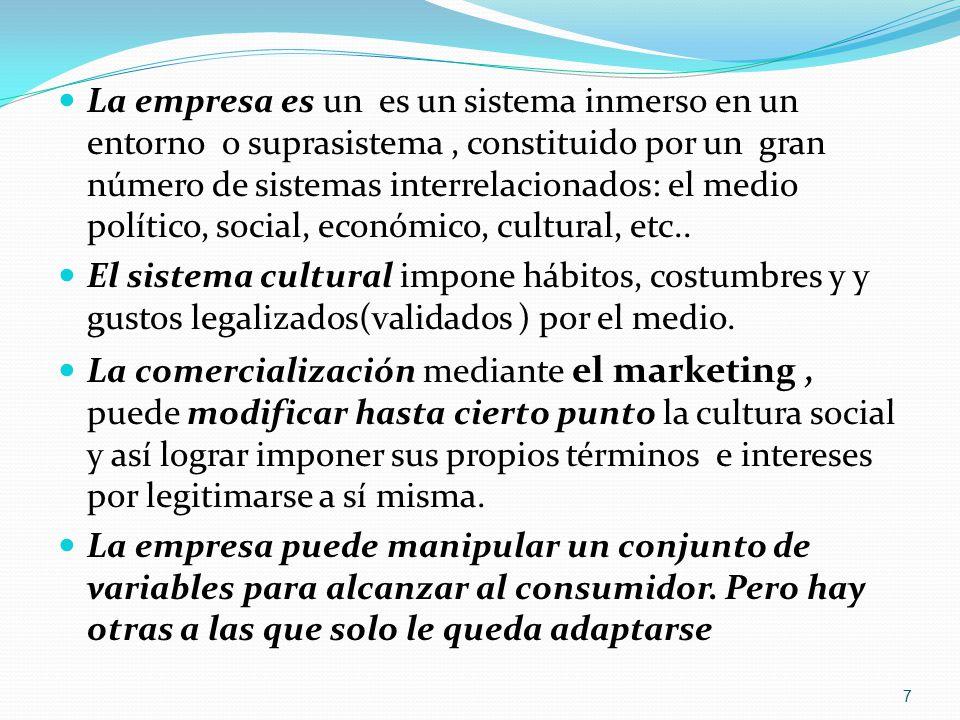 La empresa es un es un sistema inmerso en un entorno o suprasistema , constituido por un gran número de sistemas interrelacionados: el medio político, social, económico, cultural, etc..