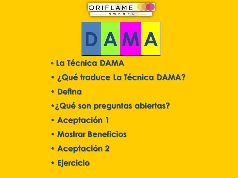 D A M ¿Qué traduce La Técnica DAMA Defina