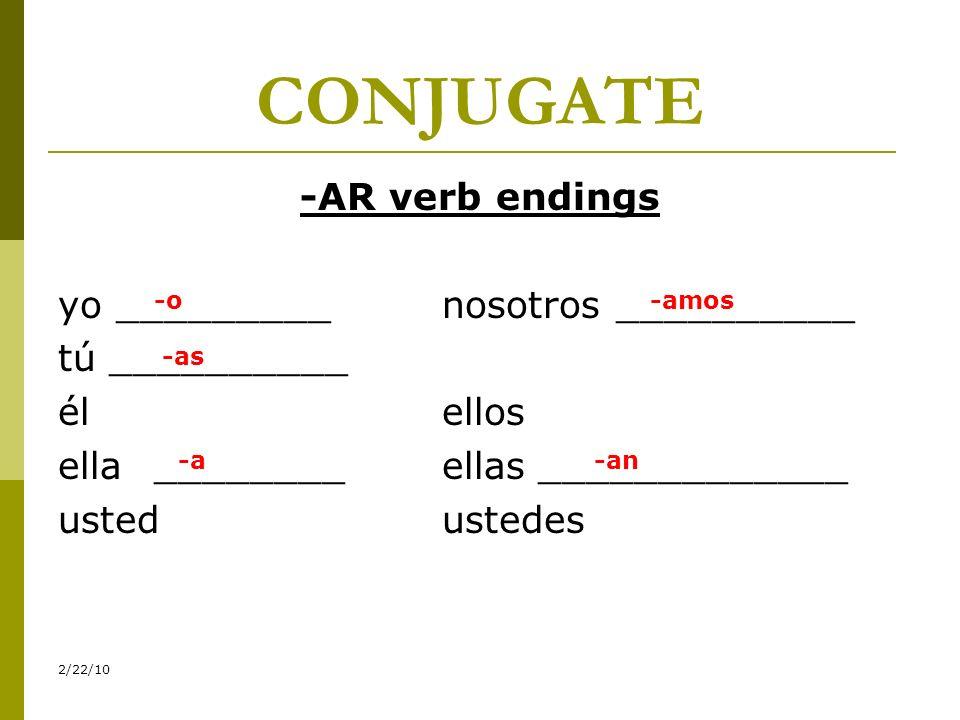 CONJUGATE-AR verb endings yo _________ nosotros __________ tú __________ él ellos ella ________ ellas _____________ usted ustedes