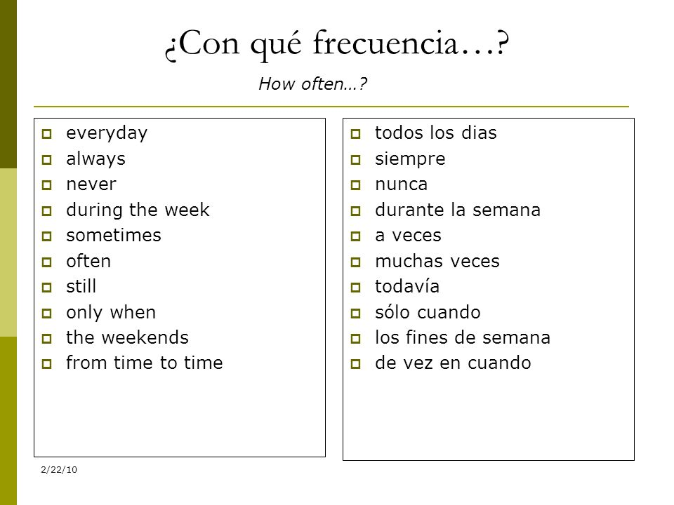 ¿Con qué frecuencia… everyday always never during the week sometimes