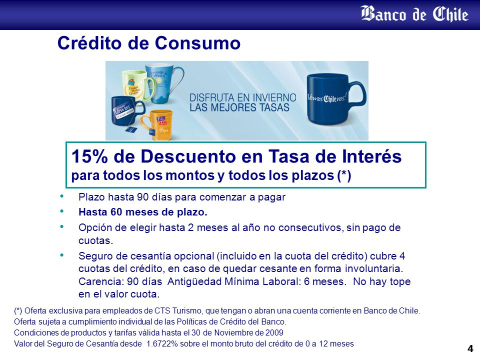 Crédito Hipotecario Tasa desde tasa 4,35 % anual fija por todo el periodo del crédito. Para créditos desde UF 3.000 plazo: 20 años.