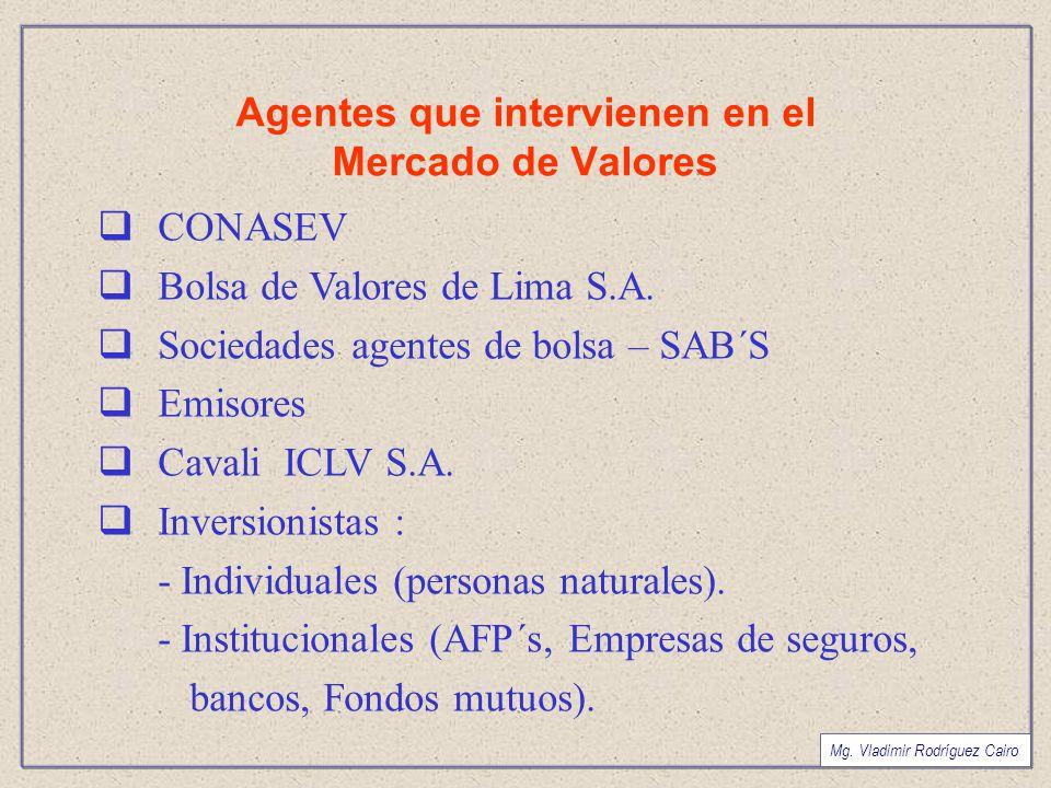 Agentes que intervienen en el Mercado de Valores