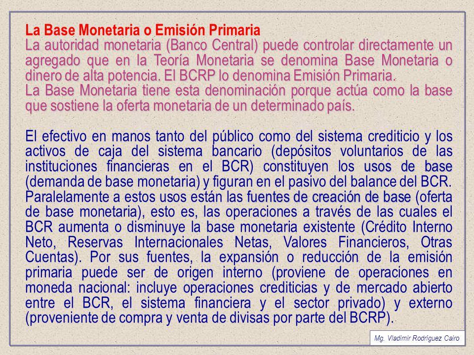 La Base Monetaria o Emisión Primaria