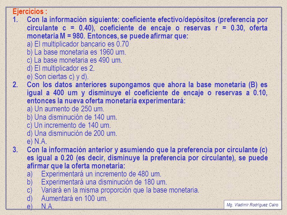 a) El multiplicador bancario es 0.70 b) La base monetaria es 1960 um.