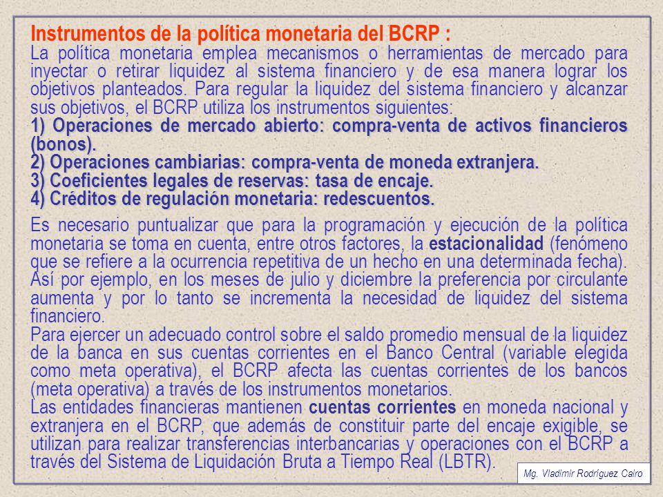 Instrumentos de la política monetaria del BCRP :