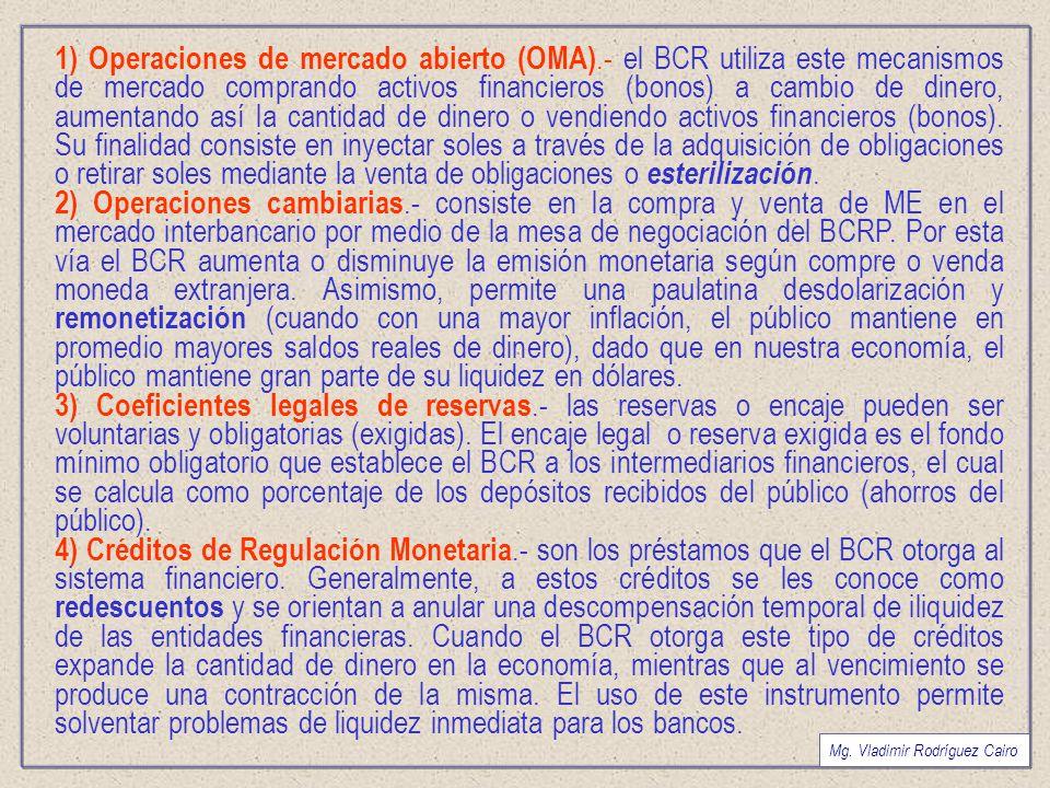 1) Operaciones de mercado abierto (OMA)