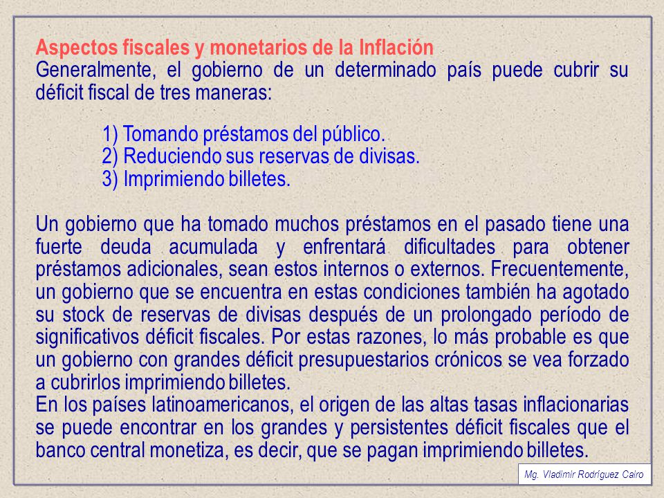 Aspectos fiscales y monetarios de la Inflación