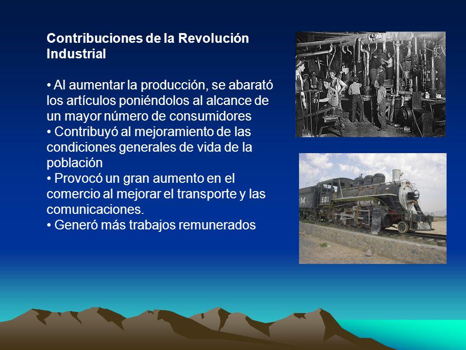 Contribuciones de la Revolución Industrial