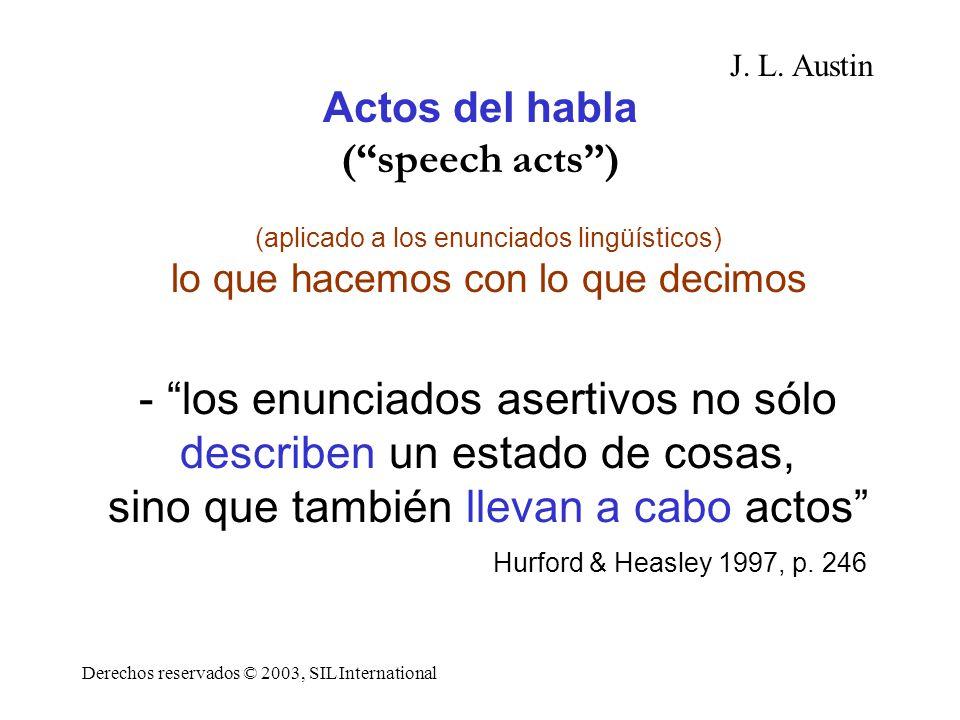Actos del habla ( speech acts )