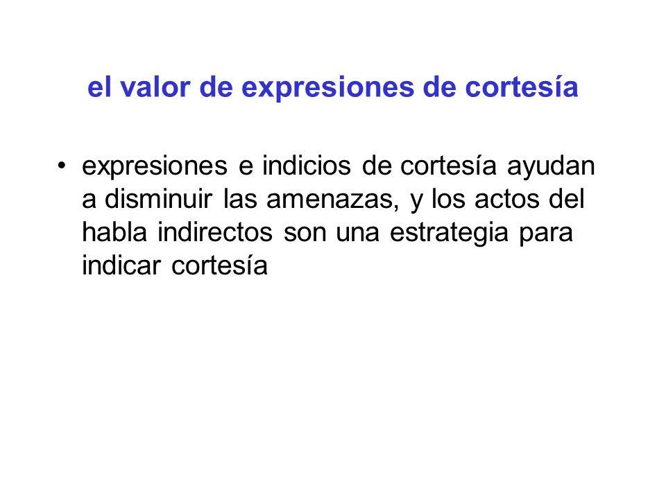 el valor de expresiones de cortesía