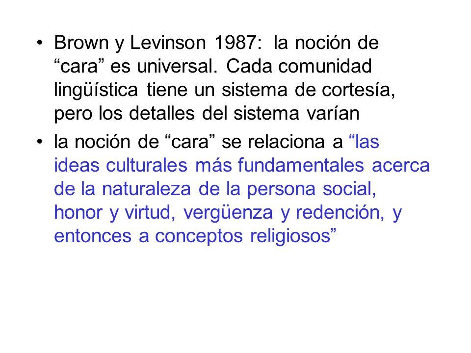 Brown y Levinson 1987: la noción de cara es universal