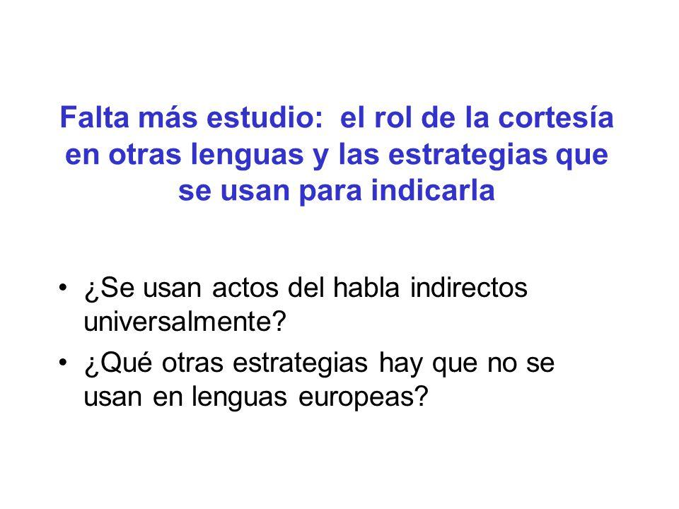 Falta más estudio: el rol de la cortesía en otras lenguas y las estrategias que se usan para indicarla