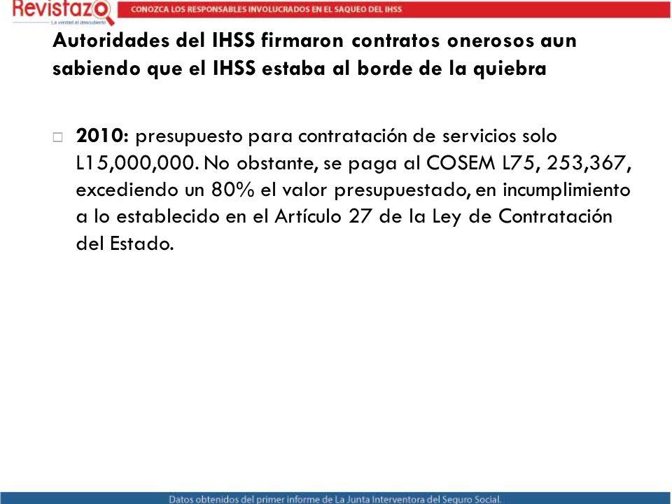 Autoridades del IHSS firmaron contratos onerosos aun sabiendo que el IHSS estaba al borde de la quiebra