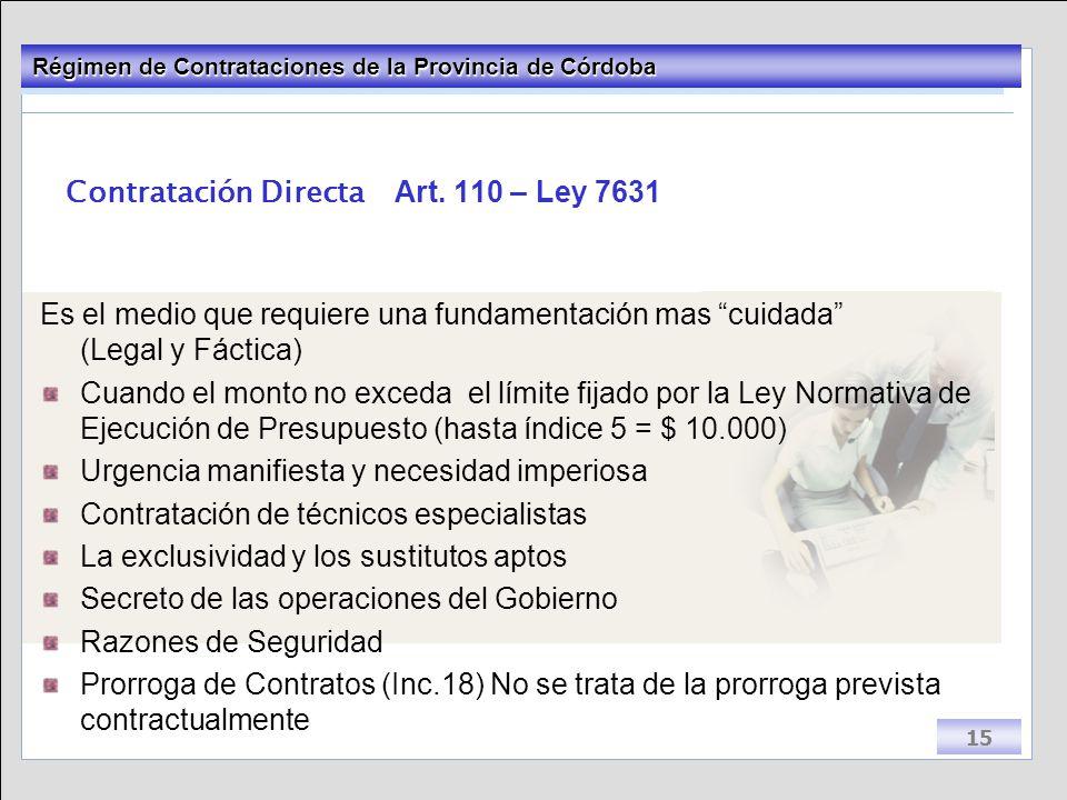 Contratación Directa Art. 110 – Ley 7631