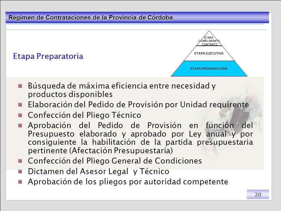 Etapa Preparatoria Búsqueda de máxima eficiencia entre necesidad y productos disponibles. Elaboración del Pedido de Provisión por Unidad requirente.