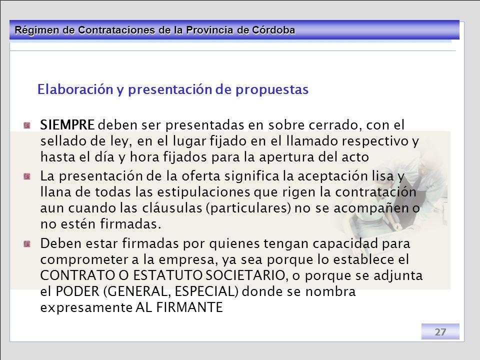 Elaboración y presentación de propuestas