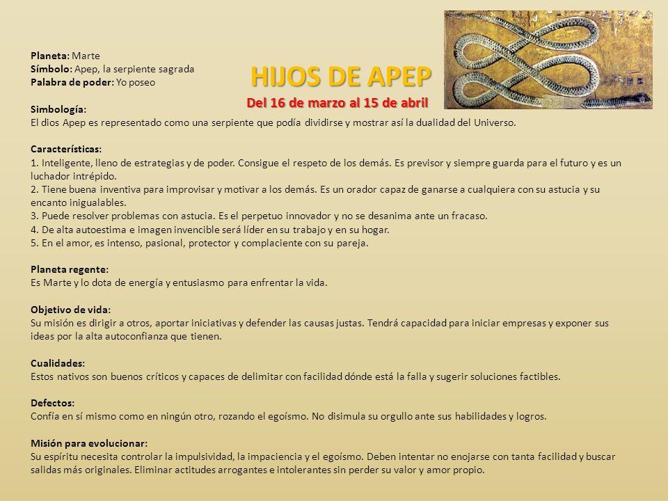 HIJOS DE APEP Del 16 de marzo al 15 de abril