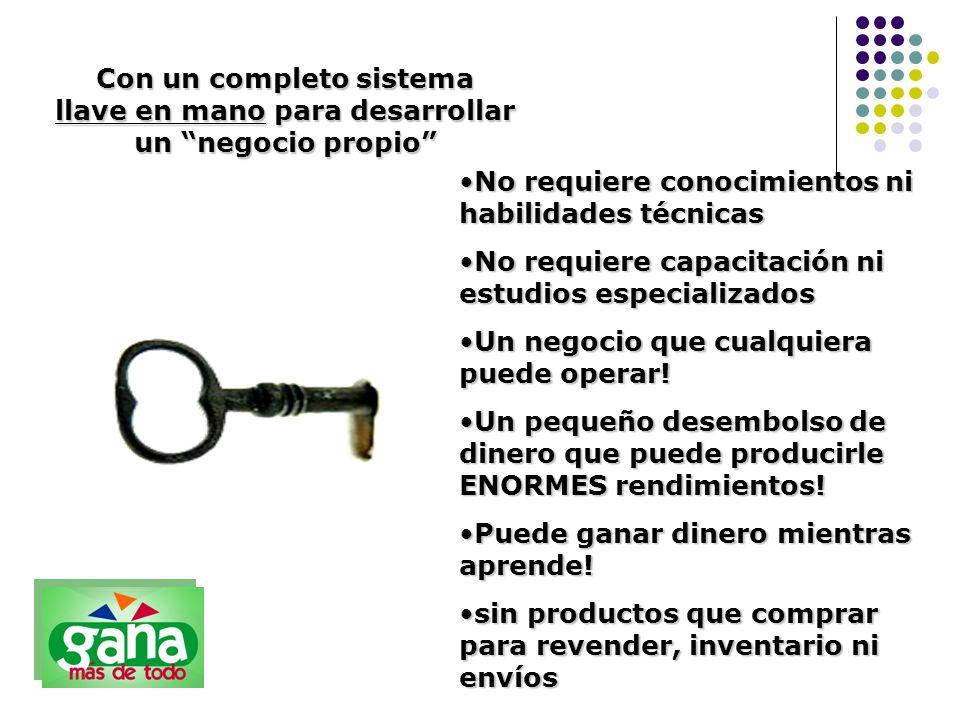 Con un completo sistema llave en mano para desarrollar un negocio propio