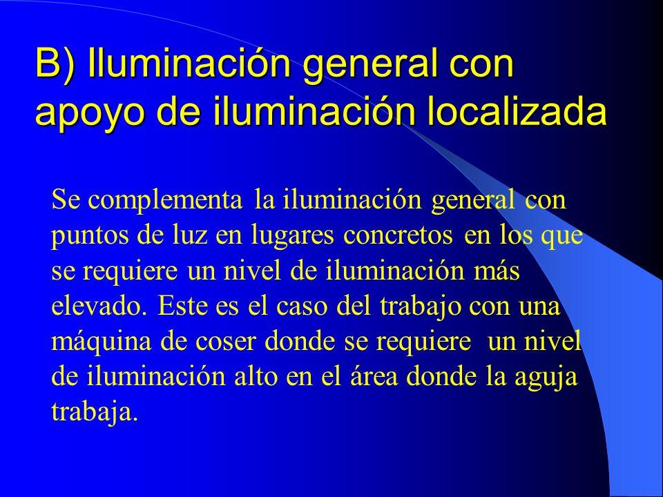 B) Iluminación general con apoyo de iluminación localizada