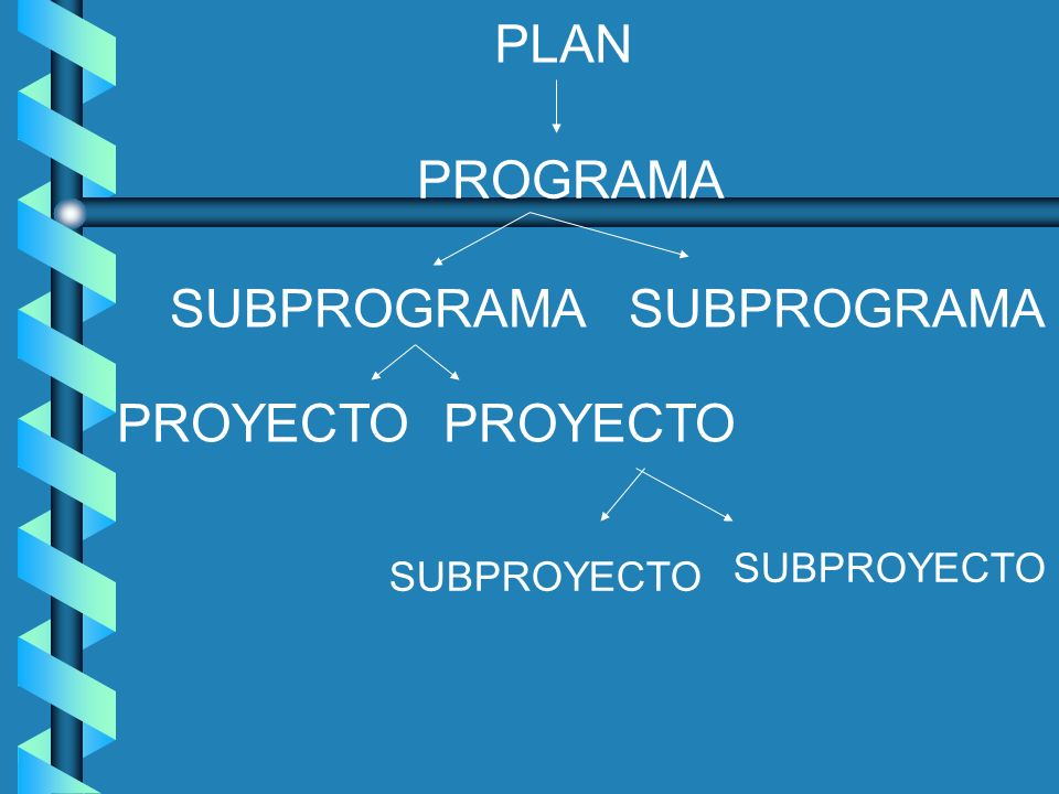 PLAN PROGRAMA SUBPROGRAMA SUBPROGRAMA PROYECTO PROYECTO SUBPROYECTO