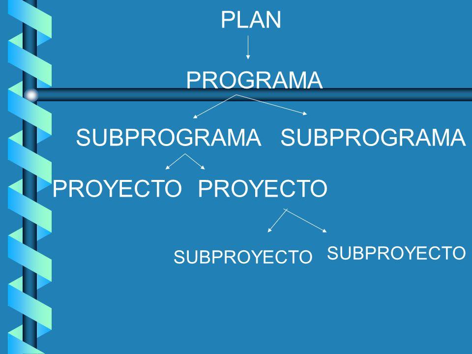 PLAN PROGRAMA SUBPROGRAMA SUBPROGRAMA PROYECTO PROYECTO SUBPROYECTO