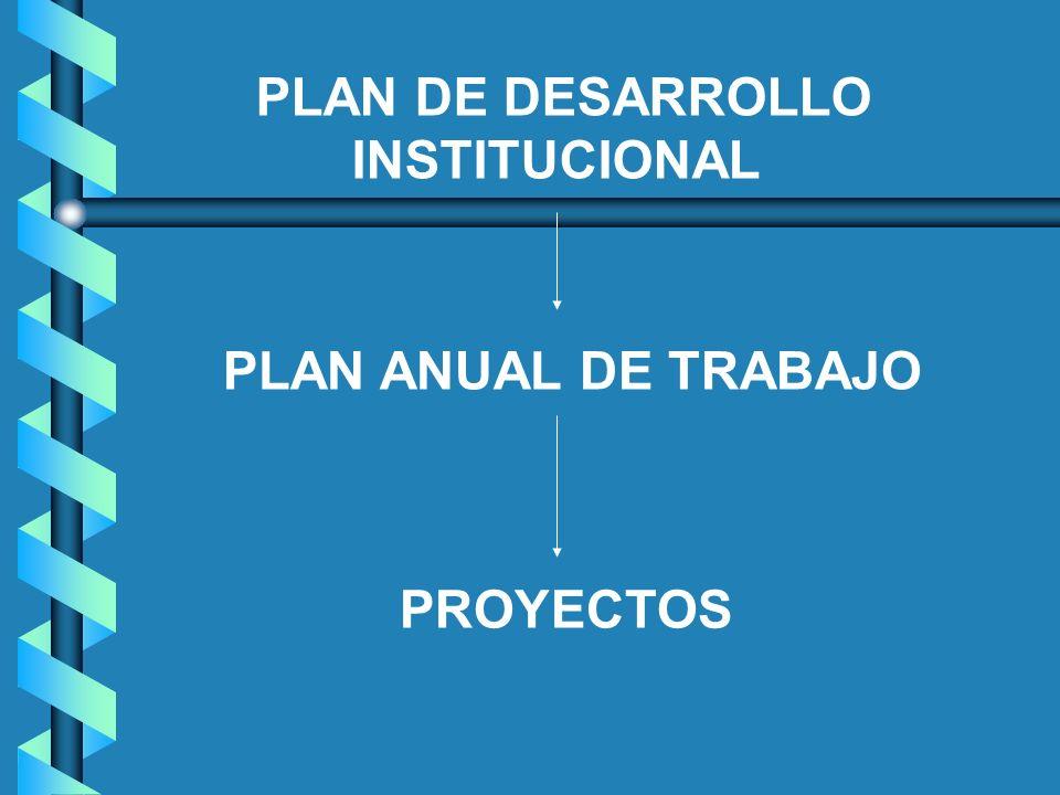 PLAN DE DESARROLLO INSTITUCIONAL PLAN ANUAL DE TRABAJO PROYECTOS