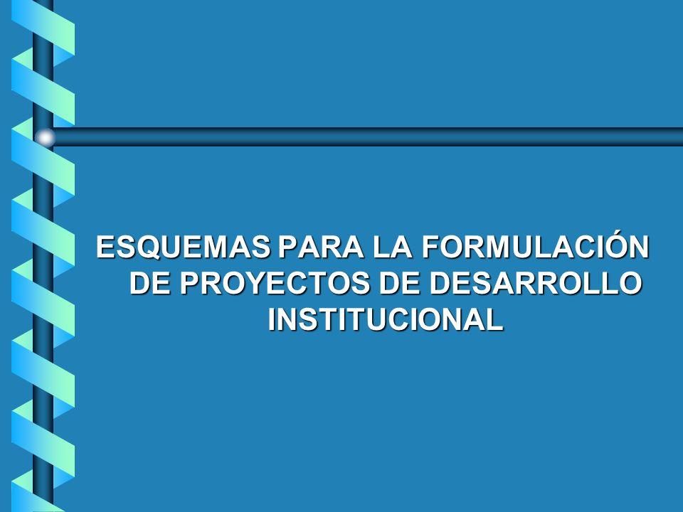 ESQUEMAS PARA LA FORMULACIÓN DE PROYECTOS DE DESARROLLO INSTITUCIONAL