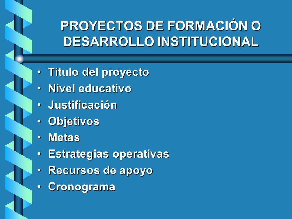 PROYECTOS DE FORMACIÓN O DESARROLLO INSTITUCIONAL