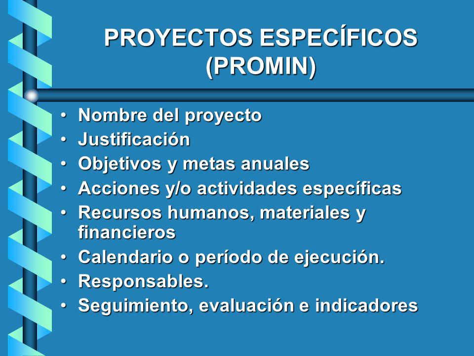 PROYECTOS ESPECÍFICOS (PROMIN)