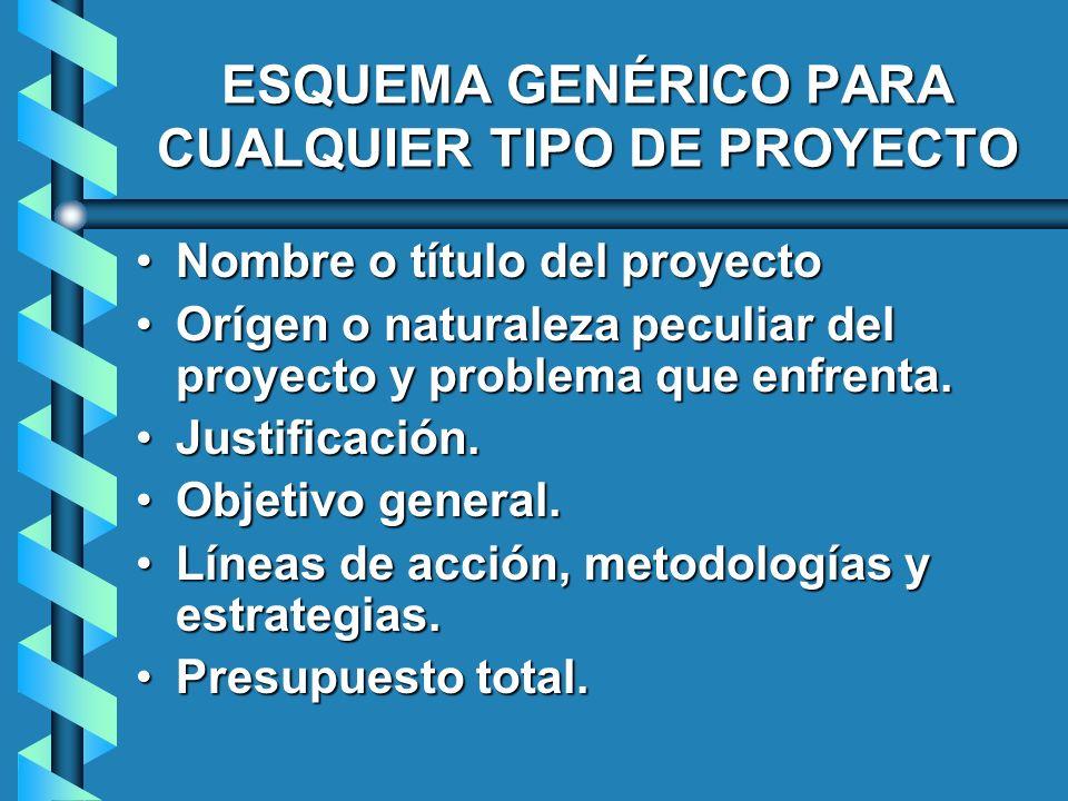 ESQUEMA GENÉRICO PARA CUALQUIER TIPO DE PROYECTO