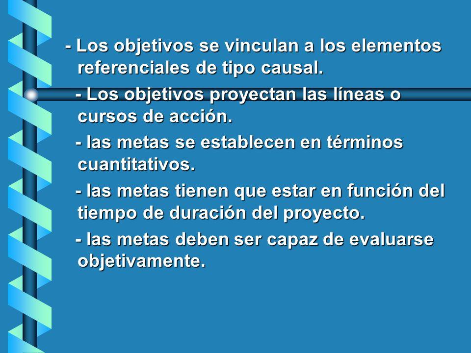 - Los objetivos se vinculan a los elementos referenciales de tipo causal.