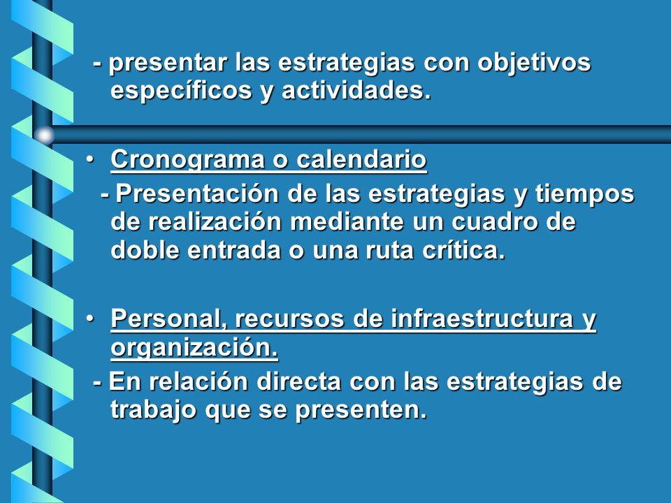 - presentar las estrategias con objetivos específicos y actividades.