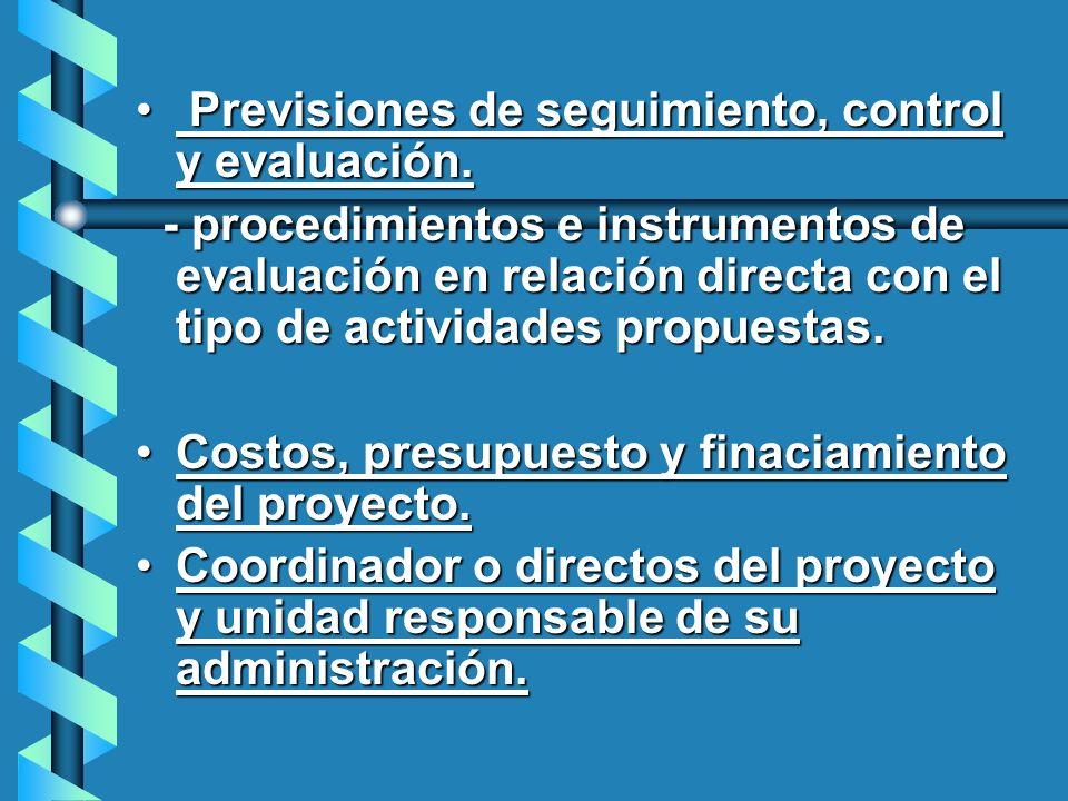Previsiones de seguimiento, control y evaluación.
