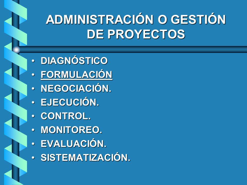 ADMINISTRACIÓN O GESTIÓN DE PROYECTOS