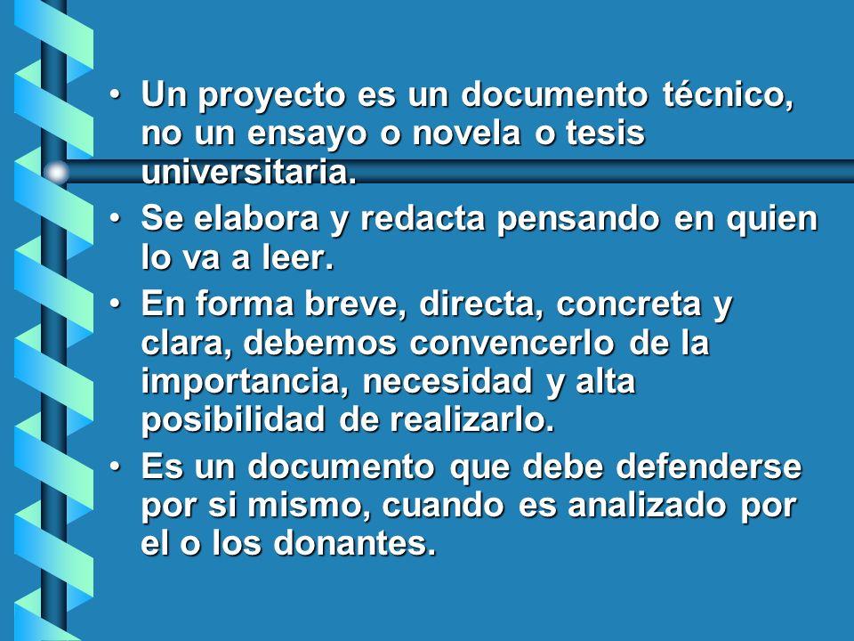 Un proyecto es un documento técnico, no un ensayo o novela o tesis universitaria.