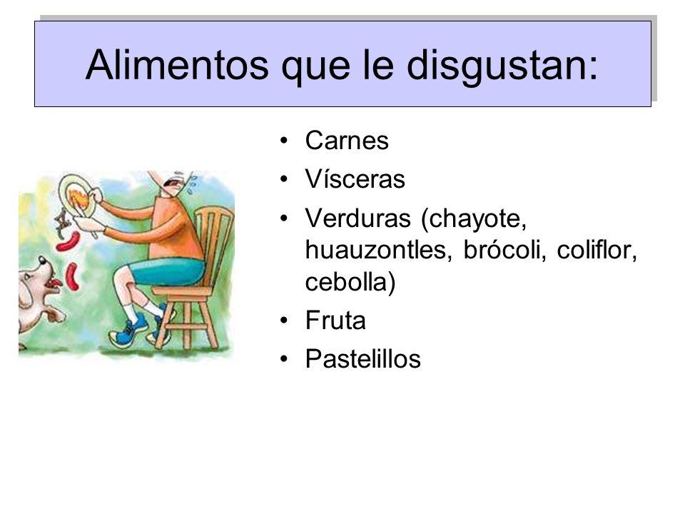 Alimentos que le disgustan: