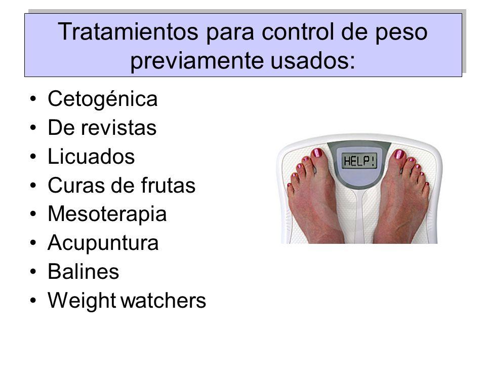 Tratamientos para control de peso previamente usados: