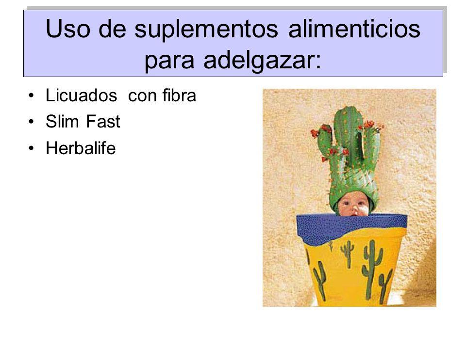 Uso de suplementos alimenticios para adelgazar: