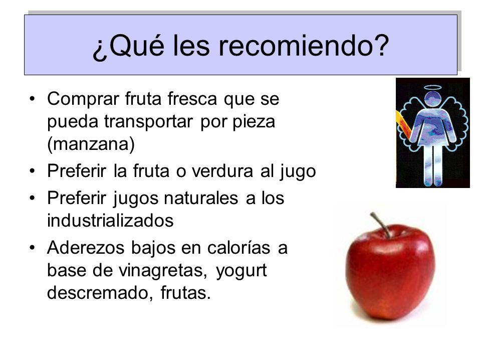 ¿Qué les recomiendo Comprar fruta fresca que se pueda transportar por pieza (manzana) Preferir la fruta o verdura al jugo.