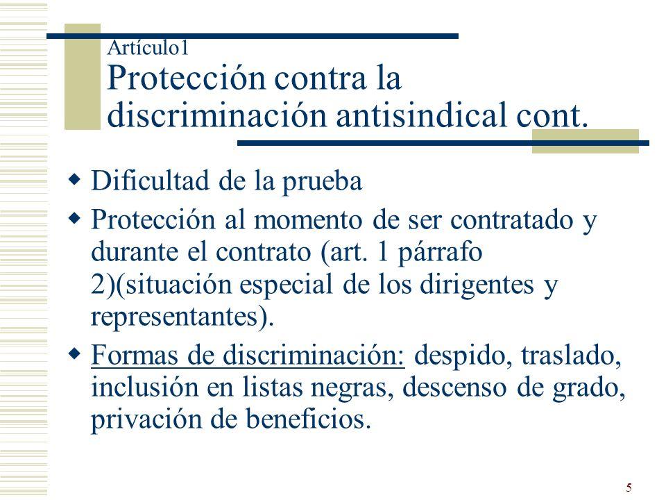 Artículo1 Protección contra la discriminación antisindical cont.