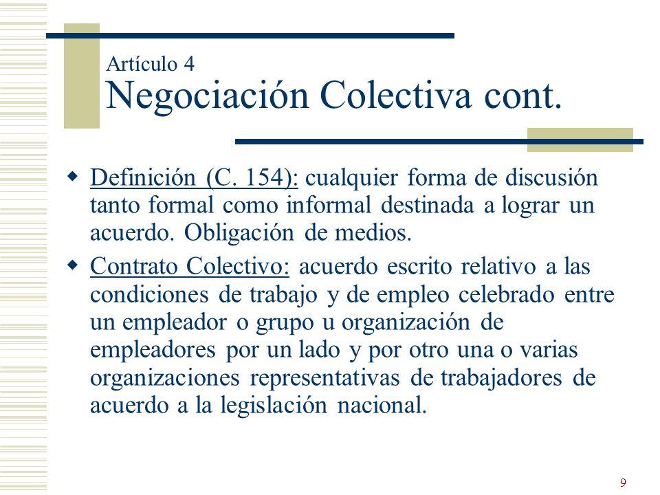 Artículo 4 Negociación Colectiva cont.
