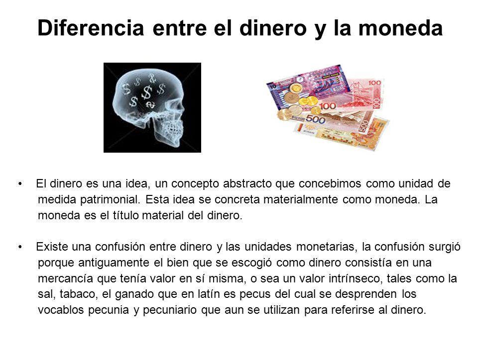 Diferencia entre el dinero y la moneda