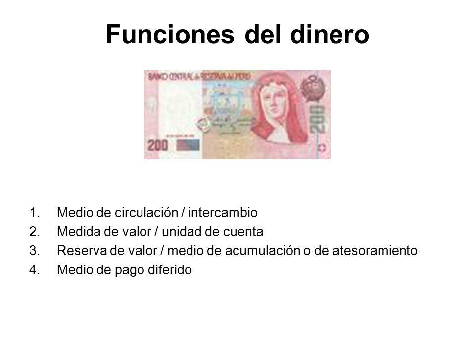 Funciones del dinero Medio de circulación / intercambio