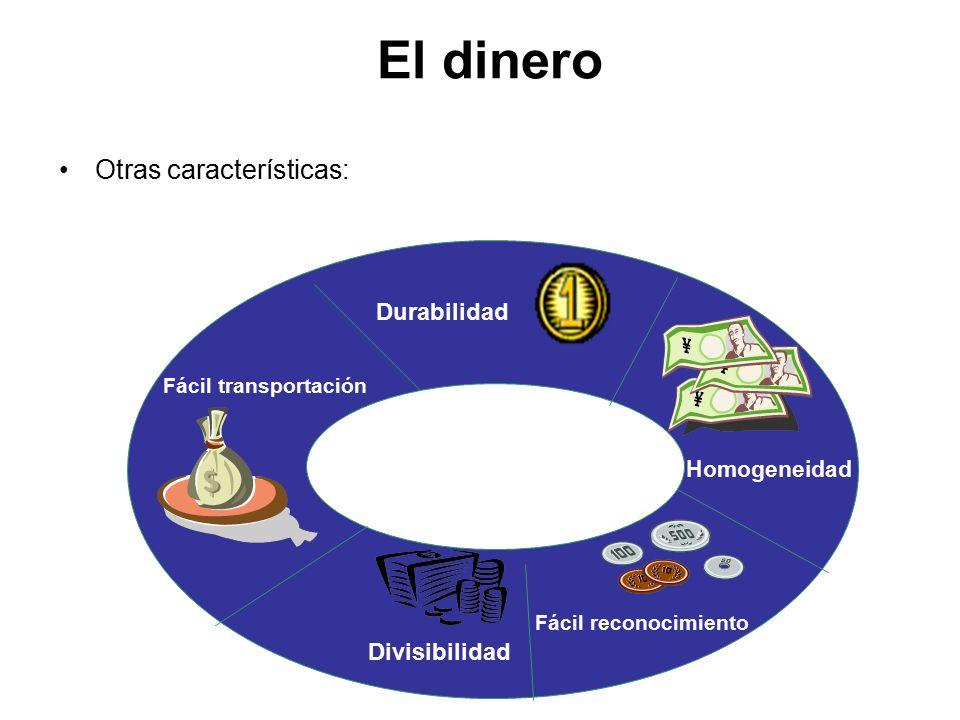 El dinero Otras características: Durabilidad Divisibilidad